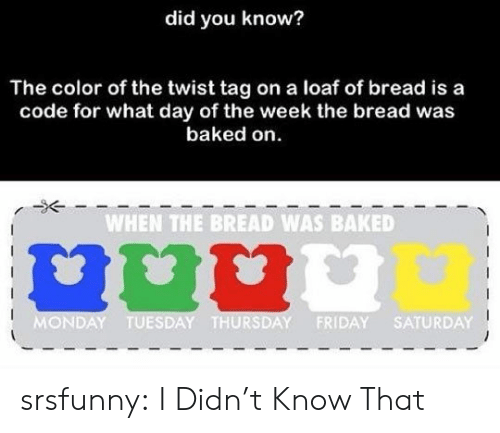 Baked, Friday, and Tumblr: did you know?  The color of the twist tag on a loaf of bread is a  code for what day of the week the bread was  baked on  WHEN THE BREAD WAS BAKED  MONDAY TUESDAY THURSDAY FRIDAY SATURDAY srsfunny:  I Didn't Know That