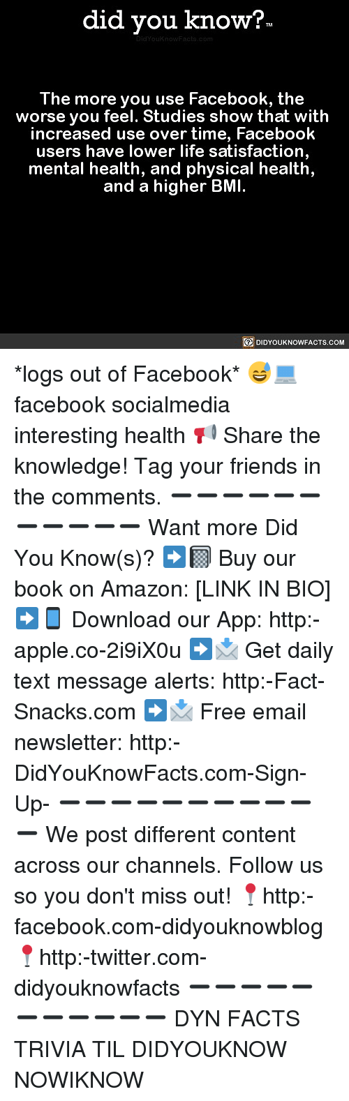 Amazon, Apple, and Facebook: did you know?  The more you use Facebook, the  worse you feel. Studies show that with  increased use over time, Facebook  users have lower life satisfaction  mental health, and physical health,  and a higher BMI.  回DIDYOUKNOWFACTS.COM *logs out of Facebook* 😅💻 facebook socialmedia interesting health 📢 Share the knowledge! Tag your friends in the comments. ➖➖➖➖➖➖➖➖➖➖➖ Want more Did You Know(s)? ➡📓 Buy our book on Amazon: [LINK IN BIO] ➡📱 Download our App: http:-apple.co-2i9iX0u ➡📩 Get daily text message alerts: http:-Fact-Snacks.com ➡📩 Free email newsletter: http:-DidYouKnowFacts.com-Sign-Up- ➖➖➖➖➖➖➖➖➖➖➖ We post different content across our channels. Follow us so you don't miss out! 📍http:-facebook.com-didyouknowblog 📍http:-twitter.com-didyouknowfacts ➖➖➖➖➖➖➖➖➖➖➖ DYN FACTS TRIVIA TIL DIDYOUKNOW NOWIKNOW