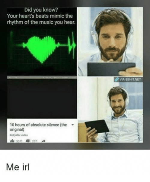 Music, Beats, and Hearts: Did you know?  Your heart's beats mimic the  rhythm of the music you hear.  dP VIA BSHIT.NET  10 hours of absolute silence (the  original)  460.436 vistas  Me irl