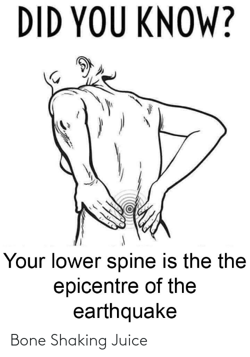 the the: DID YOU KNOW?  Your lower spine is the the  epicentre of the  earthquake Bone Shaking Juice