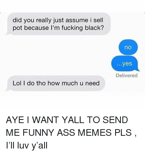 Ass, Fucking, and Funny: did you really just assume i sell  pot because I'm fucking black?  no  ...yes  Delivered  Lol I do tho how much u need AYE I WANT YALL TO SEND ME FUNNY ASS MEMES PLS , I'll luv y'all