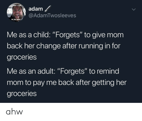 "Change, Running, and Mom: didn't ask  adam  @AdamTwosleeves  to be born  Me as a child: ""Forgets"" to give mom  back her change after running in for  groceries  Me as an adult: ""Forgets"" to remind  mom to pay me back after getting her  groceries ahw"