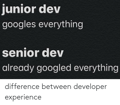 Experience: difference between developer experience