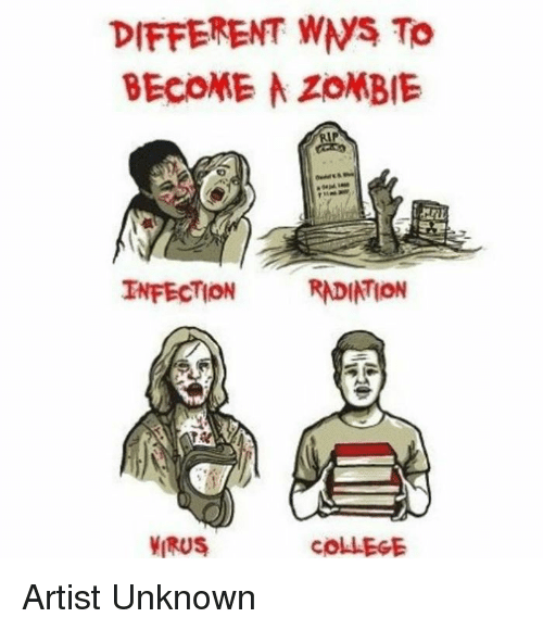 wns: DIFFERENT WNS To  BECOME ZOMBIE  INFECTION  RADIATION  VIRUS  COLLEGE Artist Unknown