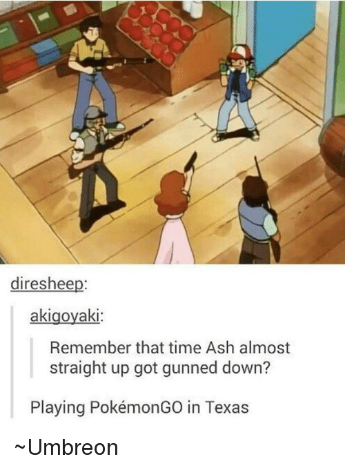 umbreon: direshee  akigoyaki  Remember that time Ash almost  straight up got gunned down?  Playing PokémonGO in Texas ~Umbreon