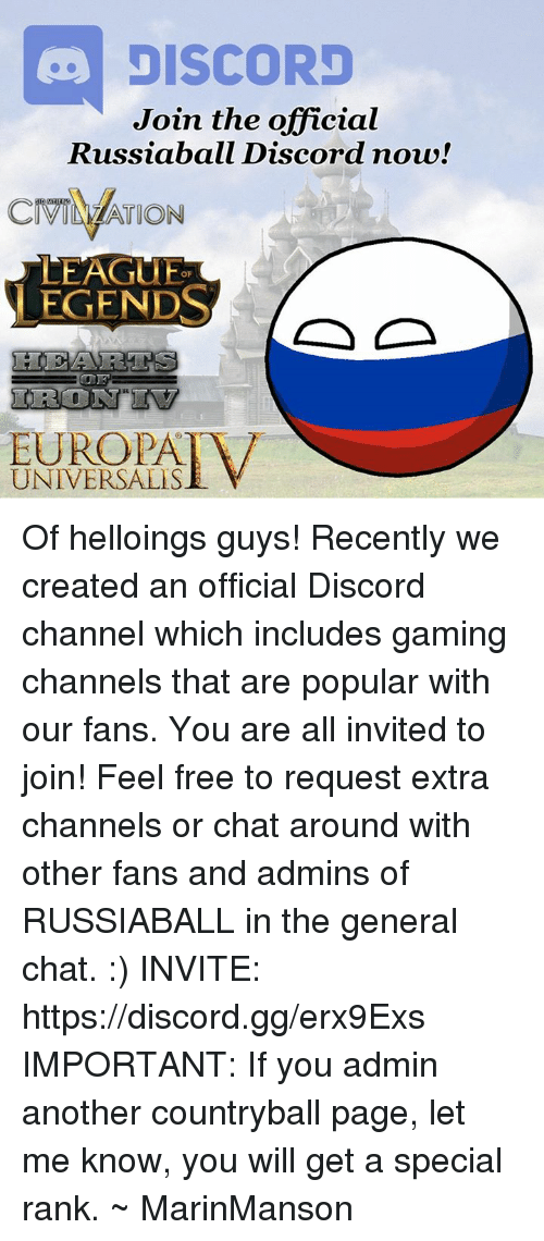 DISCORD Join the Official Russiabal Discord Now! Russiaball