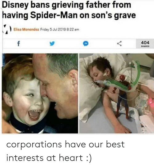 Menendez: Disney bans grieving father from  having Spider-Man on son's grave  Elisa Menendez Fridey 5 Jul 2019 8 22 am  404  SHARES corporations have our best interests at heart :)