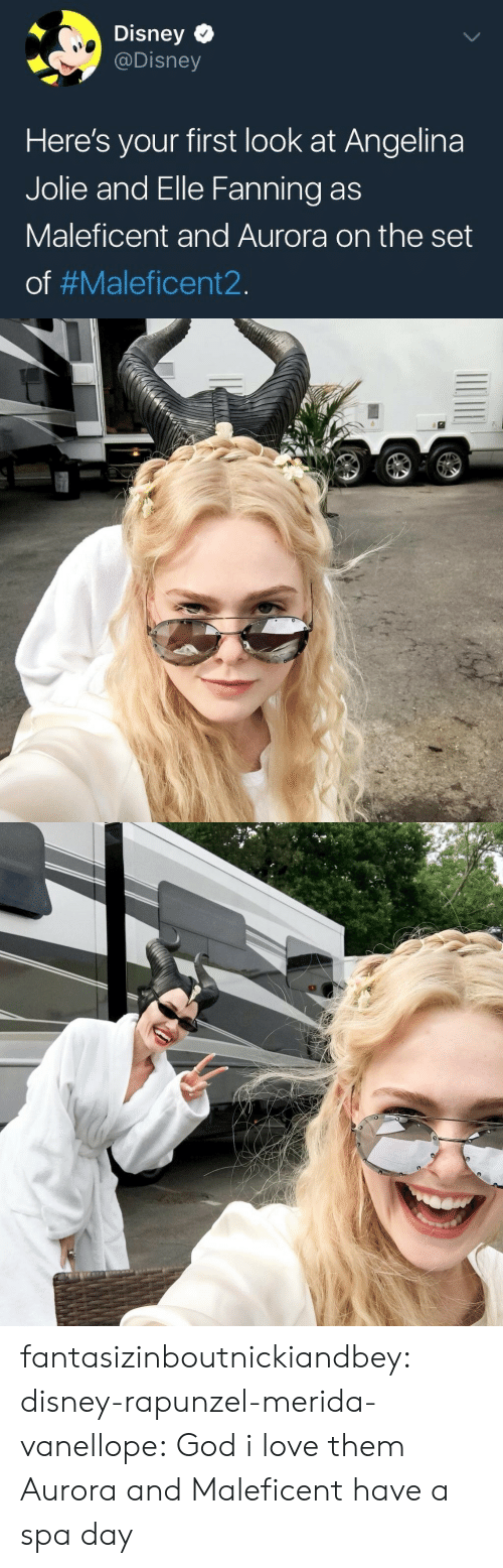 Disney, God, and Love: Disney C  @Disney  Here's your first look at Angelina  Jolie and Elle Fanning as  Maleficent and Aurora on the set  of fantasizinboutnickiandbey:  disney-rapunzel-merida-vanellope: God i love them  Aurora and Maleficent have a spa day