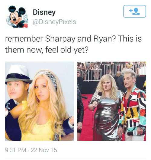 Now Feel: Disney  @DisneyPixels  remember Sharpay and Ryan? This is  them now, feel old yet?  9:31 PM · 22 Nov 15