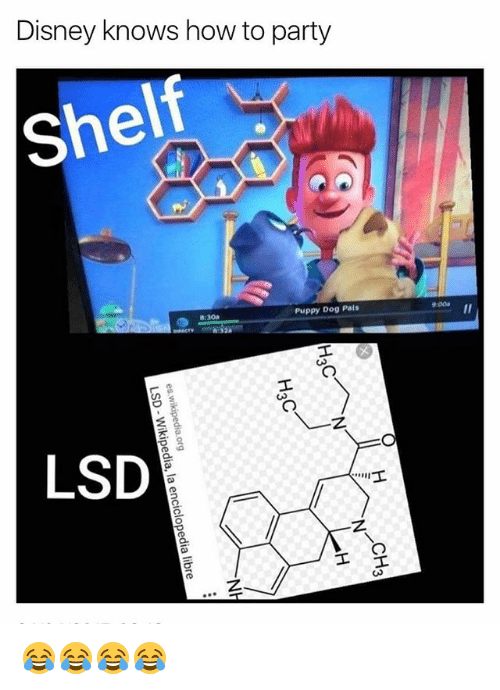 Palsing: Disney knows how to party  she  Puppy Dog Pals  9:00a  8:30a  LSD 😂😂😂😂