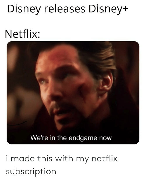 Disney, Netflix, and Endgame: Disney releases Disney+  Netflix:  We're in the endgame now i made this with my netflix subscription