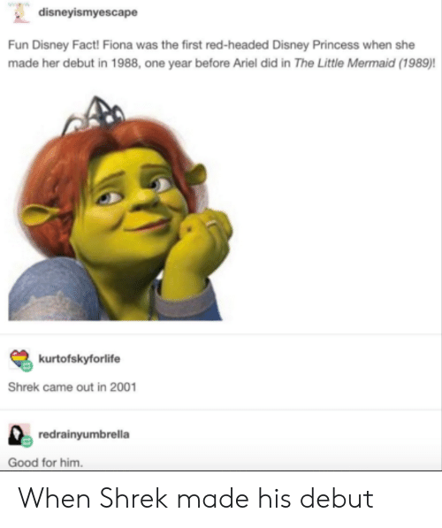 the little mermaid: disneyismyescape  Fun Disney Fact! Fiona was the first red-headed Disney Princess when she  made her debut in 1988, one year before Ariel did in The Little Mermaid (1989)!  kurtofskyforlife  Shrek came out in 2001  redrainyumbrella  Good for him When Shrek made his debut