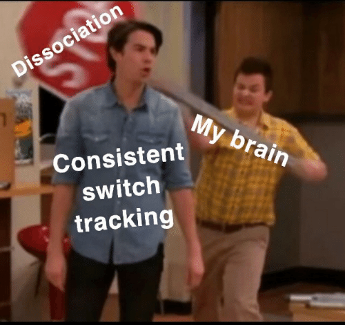 tracking: Dissociation  My brain  Consistent  switch  tracking