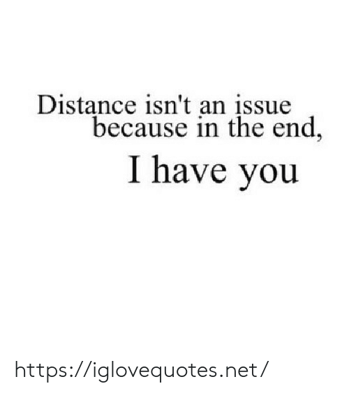 Net, You, and Issue: Distance isn't an įssue  because in the end,  I have you https://iglovequotes.net/