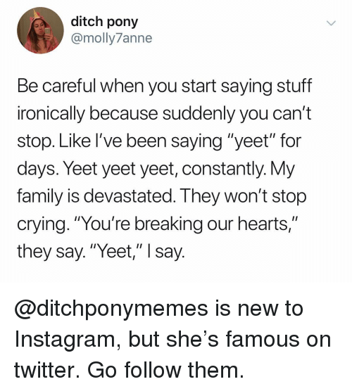 "ditch: ditch pony  @molly7anne  Be careful when you start saying stuff  ironically because suddenly you can't  stop. Like I've been saying ""yeet"" for  days. Yeet yeet yeet, constantly. Vy  family is devastated. I hey won't stop  crying. ""You're breaking our hearts,""  they say.""Yeet,"" I say @ditchponymemes is new to Instagram, but she's famous on twitter. Go follow them."