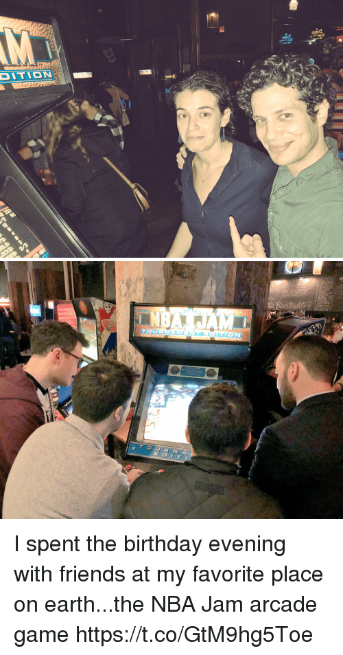 Birthday, Friends, and Memes: DITION I spent the birthday evening with friends at my favorite place on earth...the NBA Jam arcade game https://t.co/GtM9hg5Toe