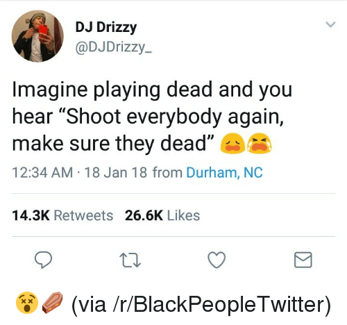 """Playing Dead: DJ Drizzy  @DJDrizzy-  Imagine playing dead and you  hear """"Shoot everybody again,  make sure they dead""""  12:34 AM 18 Jan 18 from Durham, NC  14.3K Retweets 26.6K Likes <p>😵⚰️ (via /r/BlackPeopleTwitter)</p>"""