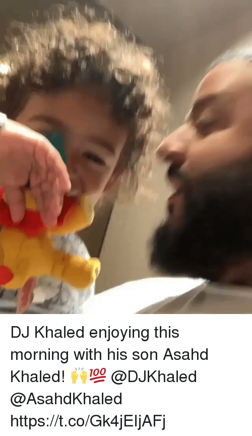 DJ Khaled, Khaled, and Son: DJ Khaled enjoying this morning with his son Asahd Khaled! 🙌💯 @DJKhaled @AsahdKhaled https://t.co/Gk4jEIjAFj