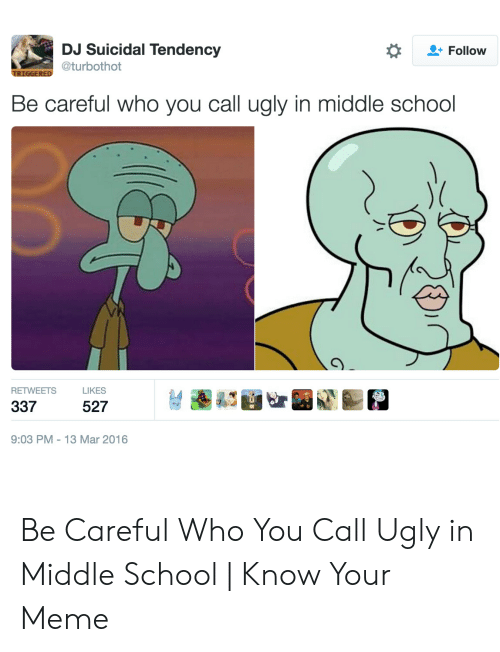 Middle School Memes: DJ Suicidal Tendency  Follow  @turbothot  TRIGGERED  Be careful who you call ugly in middle school  RETWEETS  LIKES  337  527  9:03 PM 13 Mar 2016  G Be Careful Who You Call Ugly in Middle School   Know Your Meme
