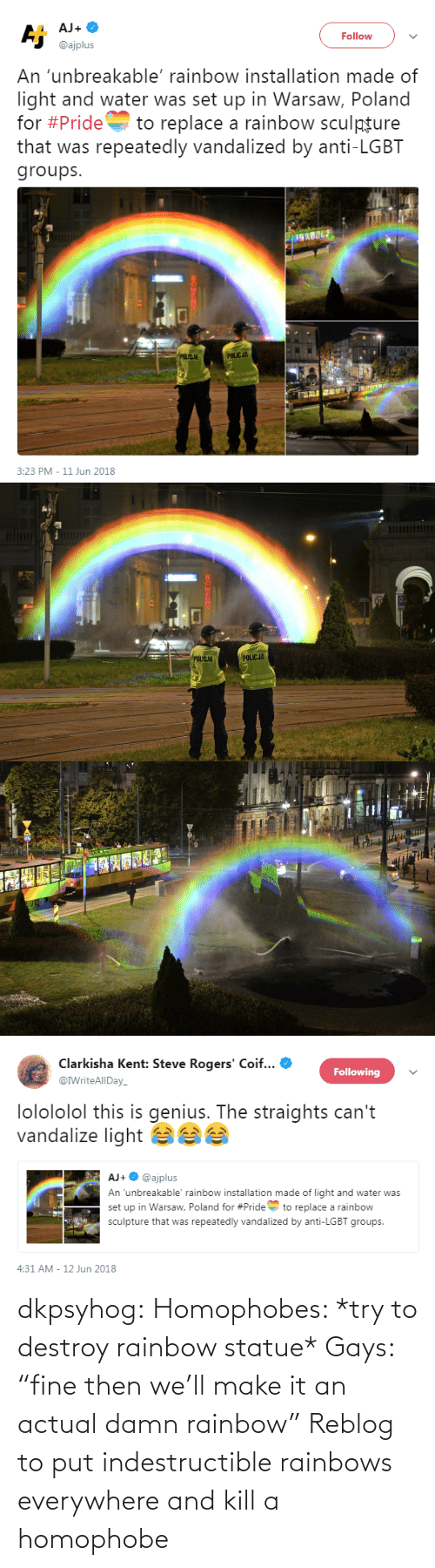 "homophobe: dkpsyhog:  Homophobes: *try to destroy rainbow statue* Gays: ""fine then we'll make it an actual damn rainbow"" Reblog to put indestructible rainbows everywhere and kill a homophobe"