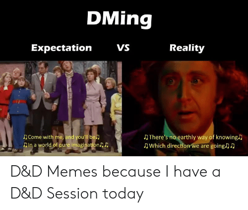 Vs Reality: DMing  VS  Reality  Expectation  Come with me, and you'll be  Din a world of pure imagination  There's no earthly way of knowing  Which direction we are going) D D&D Memes because I have a D&D Session today