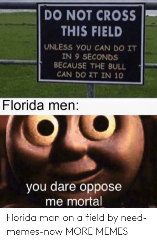 mortal: DO NOT CROSS  THIS FIELD  UNLESS YOU CAN DO IT  IN 9 SECONDS  BECAUSE THE BULL  CAN DO XT IN 10  Florida men:  you dare oppose  me mortal Florida man on a field by need-memes-now MORE MEMES