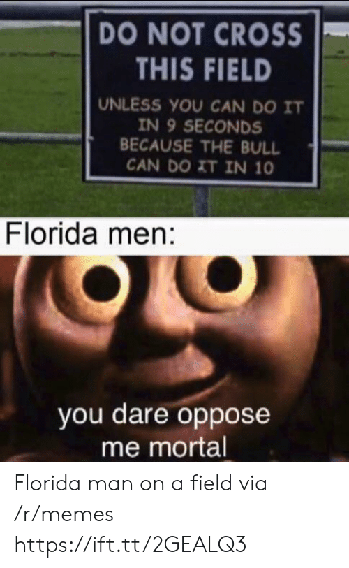 mortal: DO NOT CROSS  THIS FIELD  UNLESS YOU CAN DO IT  IN 9 SECONDS  BECAUSE THE BULL  CAN DO XT IN 10  Florida men:  you dare oppose  me mortal Florida man on a field via /r/memes https://ift.tt/2GEALQ3