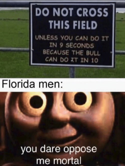 mortal: DO NOT CROSS  THIS FIELD  UNLESS YOU CAN DO IT  IN 9 SECONDS  BECAUSE THE BULL  CAN DO XT IN 10  Florida men:  you dare oppose  me mortal