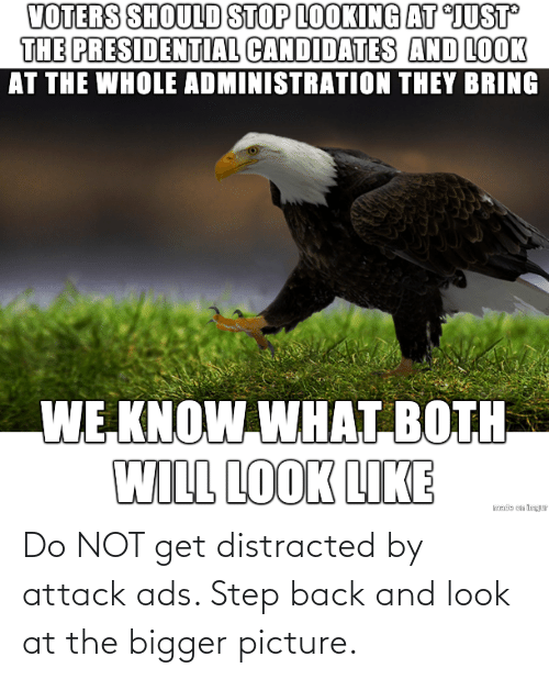 attack: Do NOT get distracted by attack ads. Step back and look at the bigger picture.