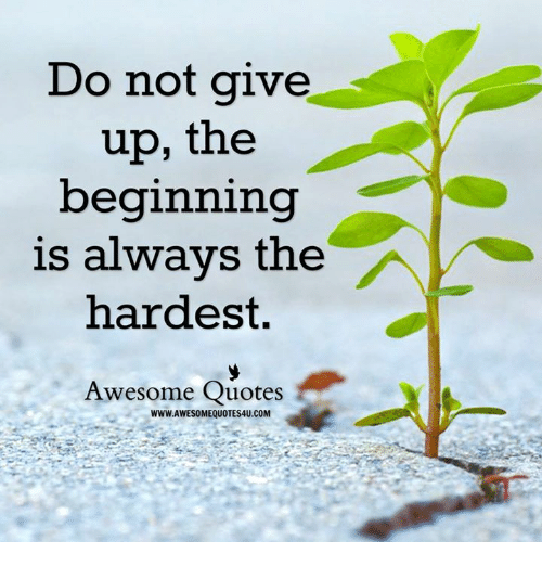 awesome quotes: Do not give  up, the  beginning  is always the  hardest.  Awesome Quotes  WWW.AWESOMEQUOTES4U.COM