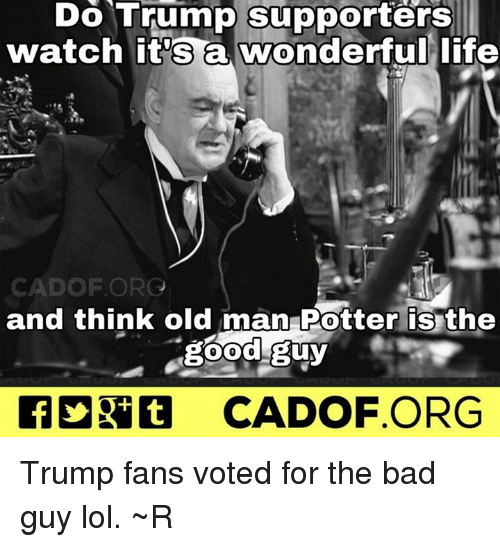 the good guy: Do Trump supporters  watch it's a wonderful life  CAD OF ORG  and think old man Potter is the  good guy  CADOF ORG Trump fans voted for the bad guy lol. ~R