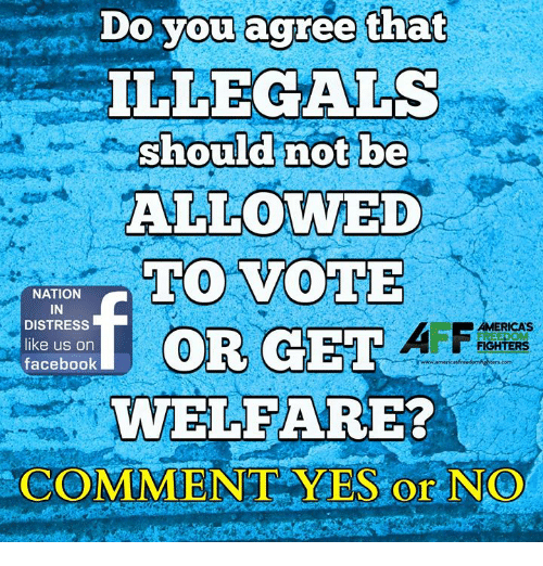 Facebook, Memes, and 🤖: Do vou acree that  ILLEGALS  should not be  ALLOWED  TO VOTE  NATION  IN  DISTRESS  like us on  facebook  AMERICAS  FIGHTERS  WELFARE?