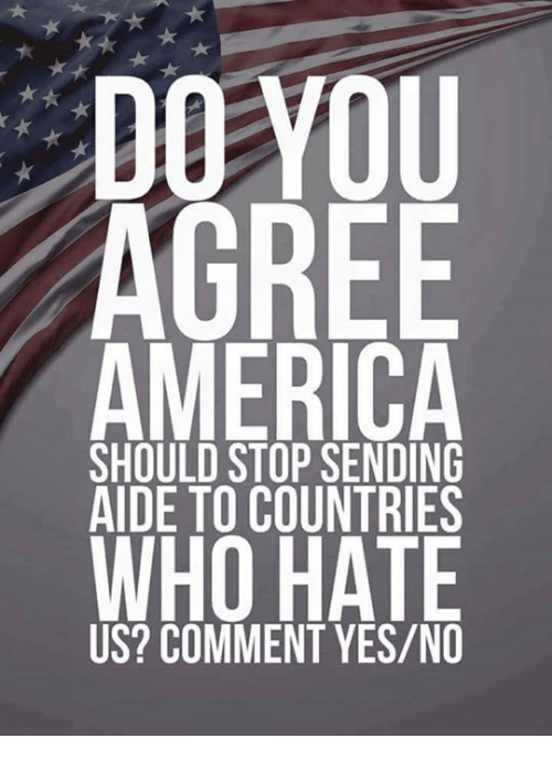 America, Memes, and 🤖: DO VOU  AGREE  AMERICA  WHO HATE  SHOULD STOP SENDING  AIDE TO COUNTRIES  US? COMMENT YES/NO