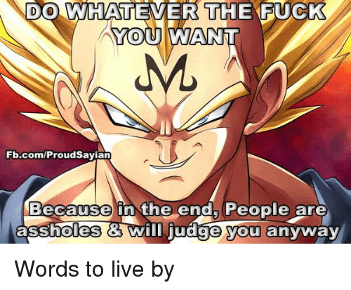Whateves: DO WHATEVER THE F  YOU AWANNT  Fb.com/ProudSayian  Because in the end, People are  assholes Wim judge you anyway Words to live by