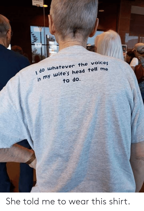 Head, She, and Shirt: do whatever the voicer  in my wife's head tell me  to do. She told me to wear this shirt.