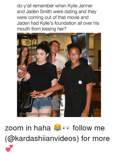 Zooming In: do y'all remember when Kylie Jenner  and Jaden Smith were dating and they  were coming out of that movie and  Jaden had Kylie's foundation all over his  mouth from kissing her?  @ke  rdashianrelate zoom in haha 😂👀 follow me (@kardashiianvideos) for more 💕