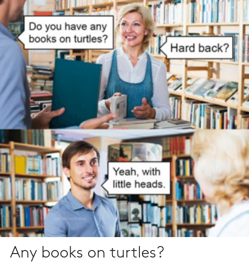 turtles: Do you have any  books on turtles?  Hard back?  Yeah, with  little heads. Any books on turtles?