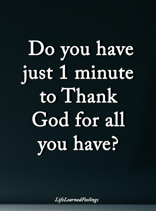 God, Memes, and 🤖: Do you have  just 1 minute  to Thank  God for all  you have?  LifeLearnedFeelings