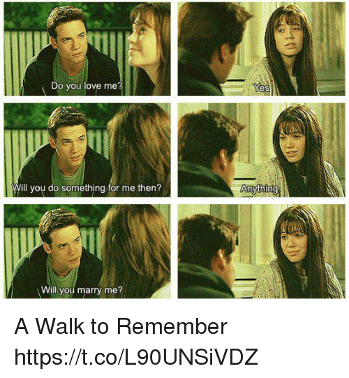 a walk to remember: Do you love me?  Will you do something for me then?  Will you marry me?  Yes  Anything A Walk to Remember https://t.co/L90UNSiVDZ