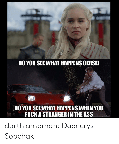 The Ass: DO YOU SEE WHAT HAPPENS CERSE  DO YOU SEE WHAT HAPPENS WHEN YOU  FUCK A STRANGER IN THE ASS darthlampman:  Daenerys Sobchak