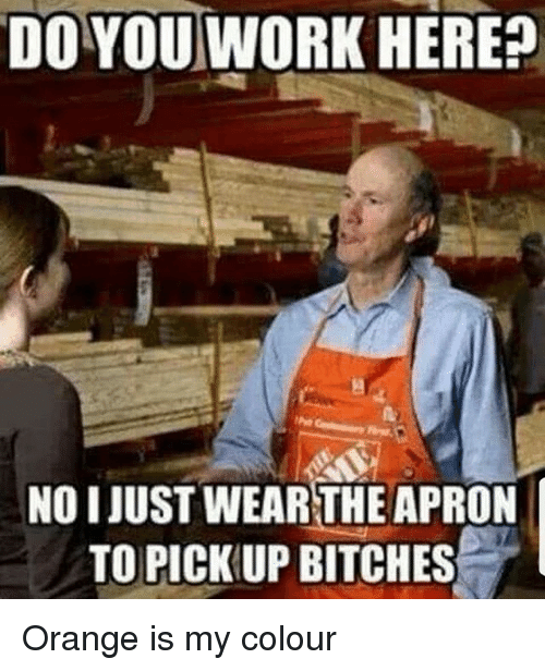 apron: DO YOU WORK HERE?  NOI JUST WEARTHE APRON  TO PICK UP BITCHES Orange is my colour