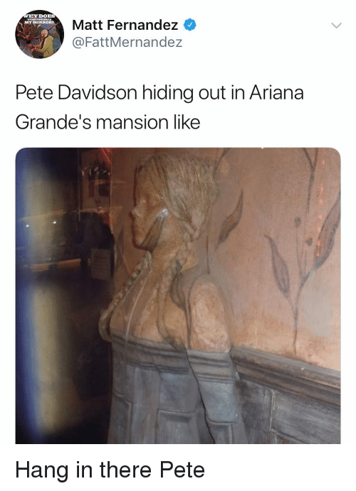 davidson: DOBS  Matt Fernandez  @FattMernandez  MYIIRRORT  Pete Davidson hiding out in Ariana  Grande's mansion like Hang in there Pete