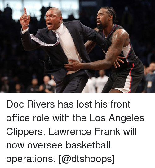 Doc Rivers: Doc Rivers has lost his front office role with the Los Angeles Clippers. Lawrence Frank will now oversee basketball operations. [@dtshoops]