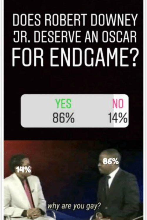 Downey: DOES ROBERT DOWNEY  JR. DESERVE AN OSCAR  FOR ENDGAME?  YES  86%  NO  14%  86%  14%  why are you gay?