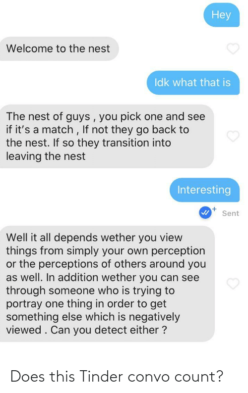 Count: Does this Tinder convo count?