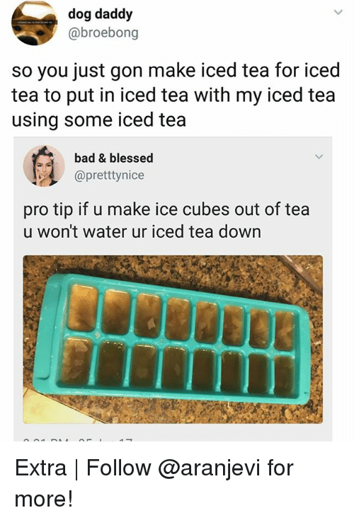 Iced Tea: dog daddy  @broebong  so you just gon make iced tea for iced  tea to put in iced tea with my iced tea  using some iced tea  bad & blessed  @pretttynice  pro tip if u make ice cubes out of tea  u won't water ur iced tea down Extra | Follow @aranjevi for more!