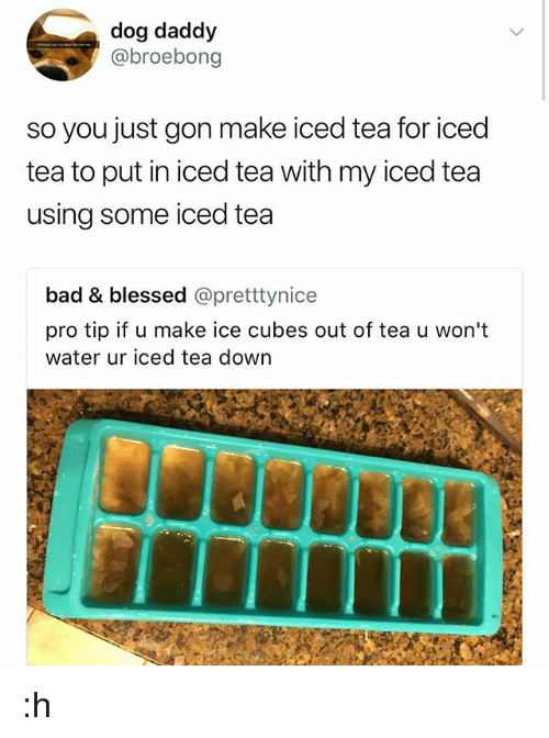 Iced Tea: dog daddy  @broebong  so you just gon make iced tea for iced  tea to put in iced tea with my iced tea  using some iced tea  bad & blessed @pretttynice  pro tip if u make ice cubes out of tea u won't  water ur iced tea down :h