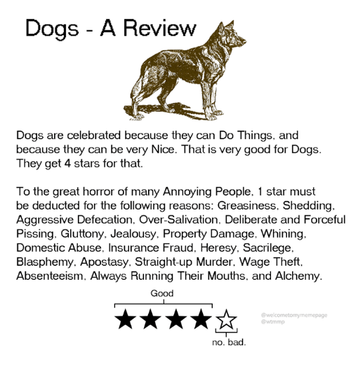 domestic abuse: Dogs - A Review  Dogs are celebrated because they can Do Things, and  because they can be very Nice. That is very good for Dogs.  They get 4 stars for that.  To the great horror of many Annoying People, 1 star must  be deducted for the following reasons: Greasiness, Shedding.  Aggressive Defecation. Over-Salivation. Deliberate and Forceful  Pissing. Gluttony. Jealousy. Property Damage, Whining.  Domestic Abuse, Insurance Fraud, Heresy. Sacrilege.  Blasphemy. Apostasy. Straight-up Murder. Wage Theft.  Absenteeism, Always Running Their Mouths, and Alchemy  Good  @welcometomymemepage  @wtmmp  no. bad.