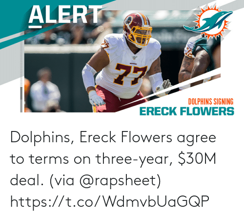Flowers: Dolphins, Ereck Flowers agree to terms on three-year, $30M deal. (via @rapsheet) https://t.co/WdmvbUaGQP