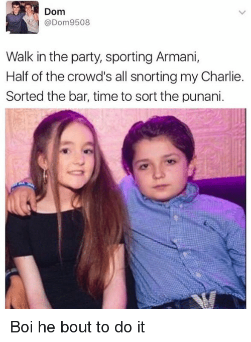 Punany: Dom  @Dom9508  Walk in the party, sporting Armani,  Half of the crowd's all snorting my Charlie.  Sorted the bar, time to sort the punani Boi he bout to do it
